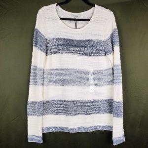 CALVIN KLEIN Blue Stripe Split Back Knit Sweater M